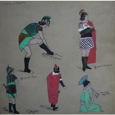 Projet de costume pour Antoine et Cléopatre