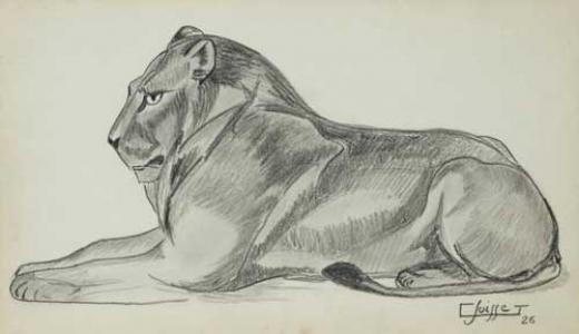 Auction by Millon & Associés SVV du 08/04/2015 - Lion couché, 1926. (lot n°203)