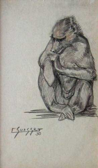 Gaston SUISSE (1896-1988) - Babouin cherchant ses puces. 1930.