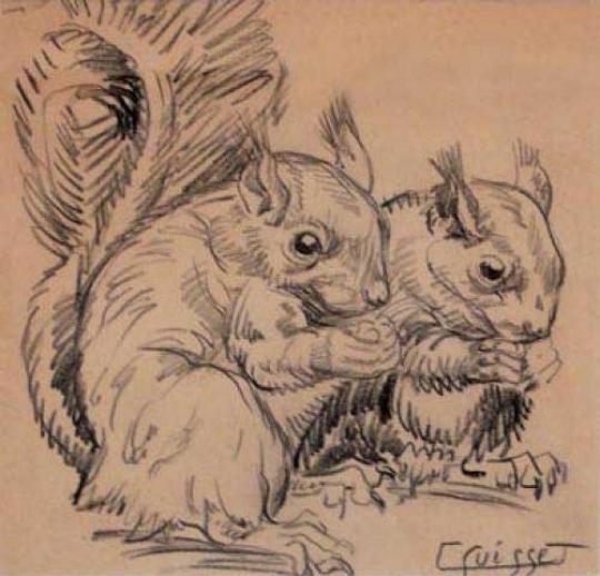 Gaston SUISSE (1896-1988) - Écureuils.