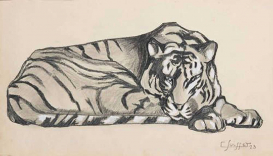 Gaston SUISSE (1896-1988) - Reclining Tiger,  1923.