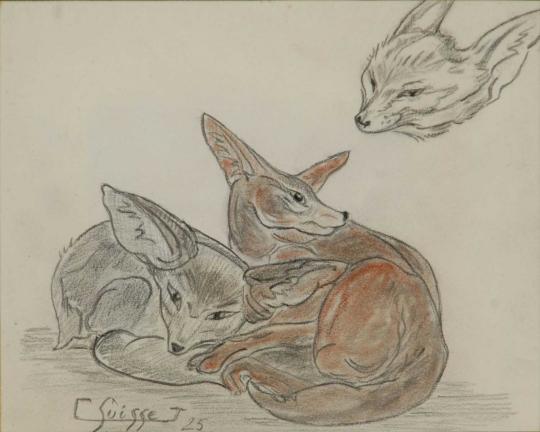 Gaston SUISSE (1896-1988) - Fennecs. 1925.