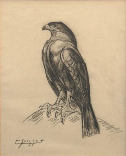 Gaston SUISSE (1896-1988) - Aigle de profil.