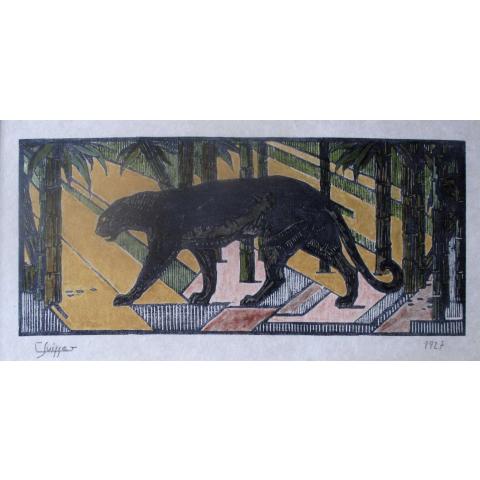 Panthère noire dans les bambous. 1927.