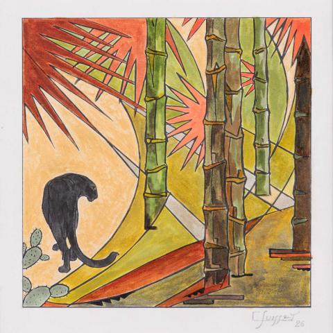 Panthère noire dans les bambous. 1926.