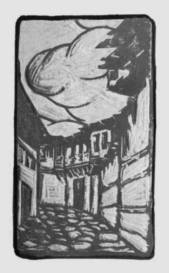 Gaston SUISSE (1896-1988) - Rue de village en Macédoine. 1917.