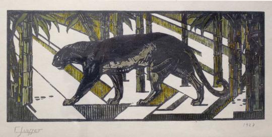 Gaston SUISSE (1896-1988) - Panthère noire dans les bambous. 1927.