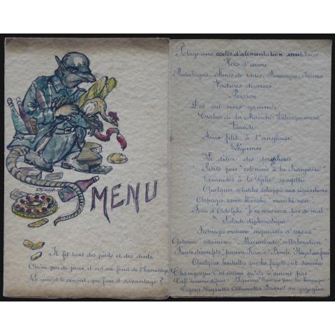 Fable et menu satiriques. Vers 1945.