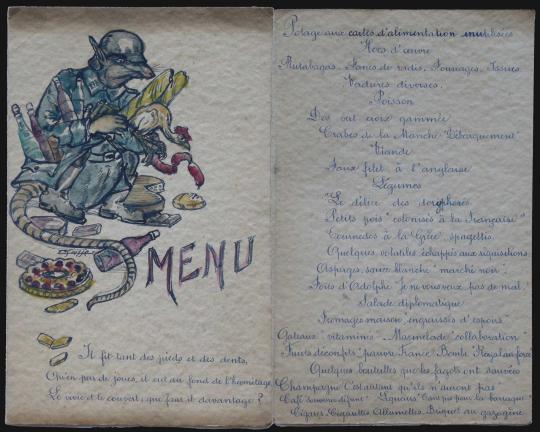 Gaston SUISSE (1896-1988) - Fable et menu satiriques. Vers 1945.