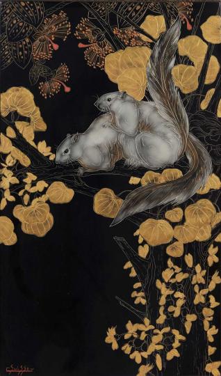 Gaston SUISSE (1896-1988) - Écureuils de Malaisie dans un arbre de Judé, vers 1942.