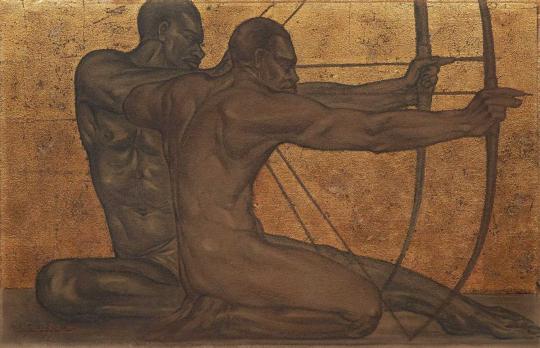 Gaston SUISSE (1896-1988) - Tireurs à l'arc, vers 1930.