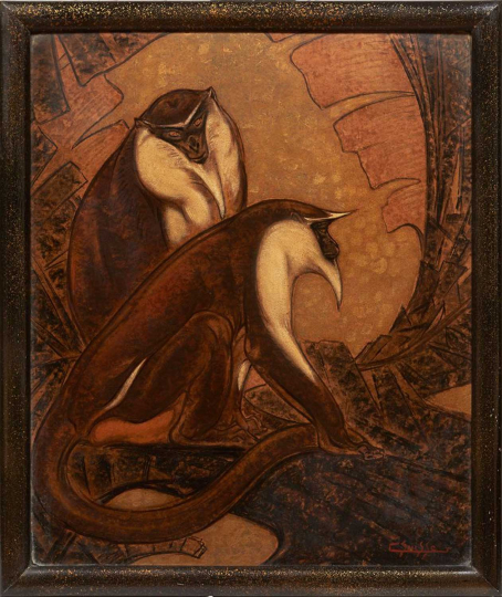 Gaston SUISSE (1896-1988) - Certopithèques de Moustac. Vers 1935.