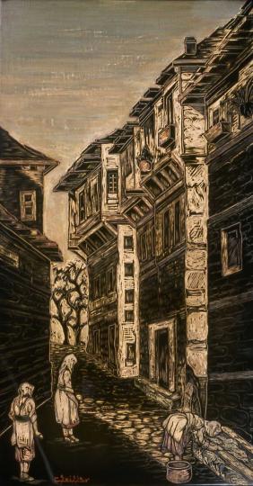Gaston SUISSE (1896-1988) - Rue de village à Vladovo, vers 1924.