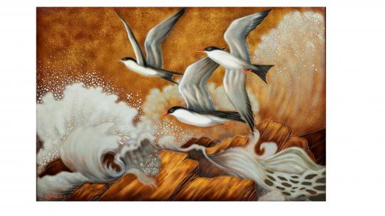 Gaston SUISSE (1896-1988) - Hirondelles de mer dans la tempête