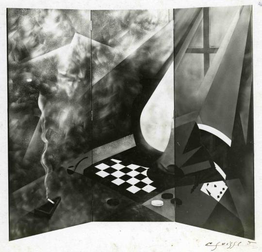 Gaston SUISSE (1896-1988) - Paravent à trois feuilles, double face.
