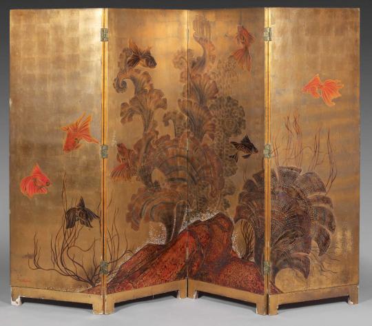 Gaston SUISSE (1896-1988) - Poissons japonais dans les Gorgones.
