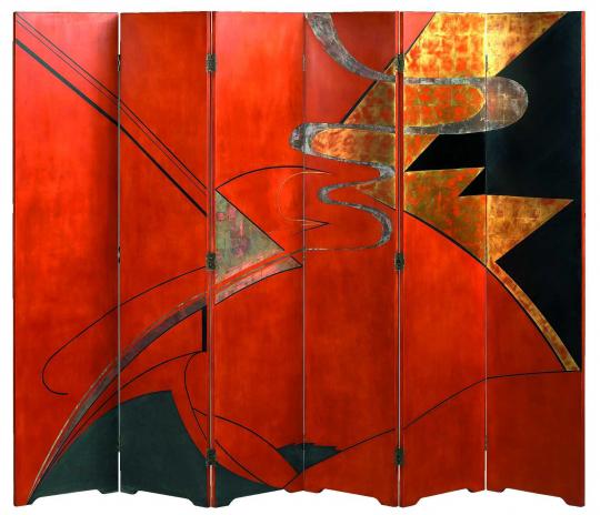 Gaston SUISSE (1896-1988) - Paravent en laque de chine. Vers 1925.