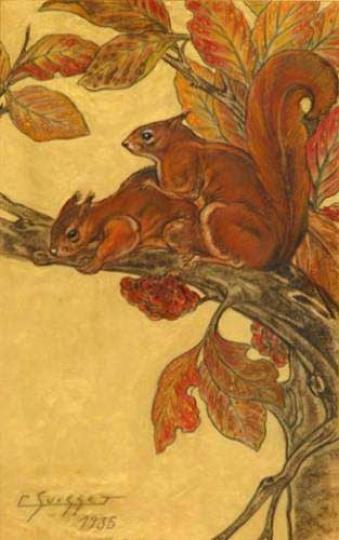 Gaston SUISSE (1896-1988) - Ecureuils roux. 1935.
