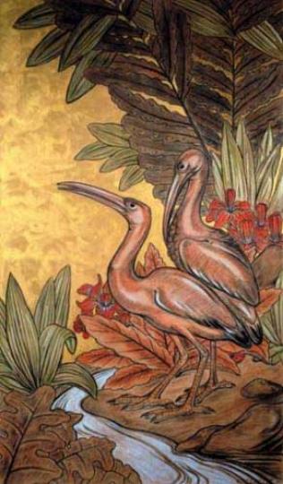 Gaston SUISSE (1896-1988) - Les ibis roses. Vers 1935.