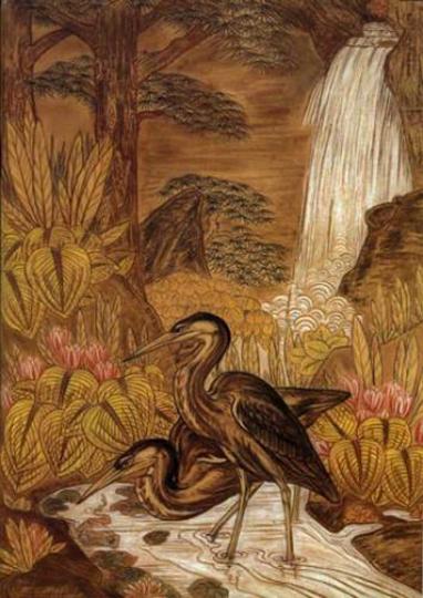 Gaston SUISSE (1896-1988) - Couple de hérons péchant sous une cascade. 1935.