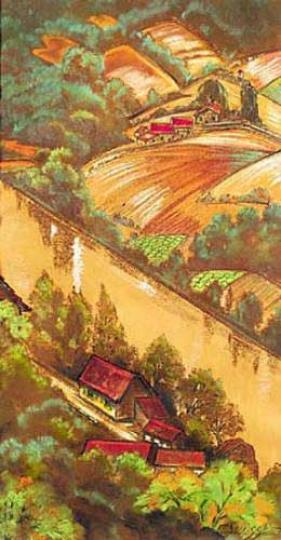 Gaston SUISSE (1896-1988) - La vallée de la Sioule. Vers 1940.
