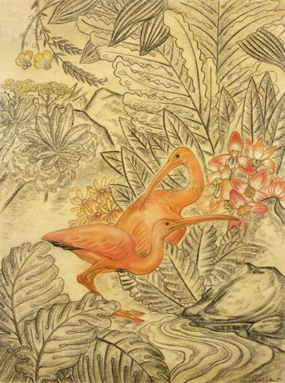 Gaston SUISSE (1896-1988) - Les Ibis roses. Vers 1932.