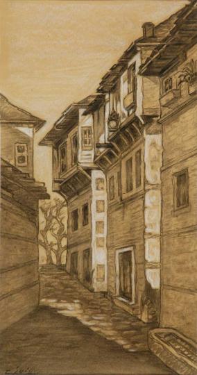 Gaston SUISSE (1896-1988) - Rue de village à Vladovo, 1919.