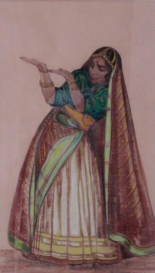 Gaston SUISSE (1896-1988) - Danseuse indienne en tenue traditionnelle, vers 1932