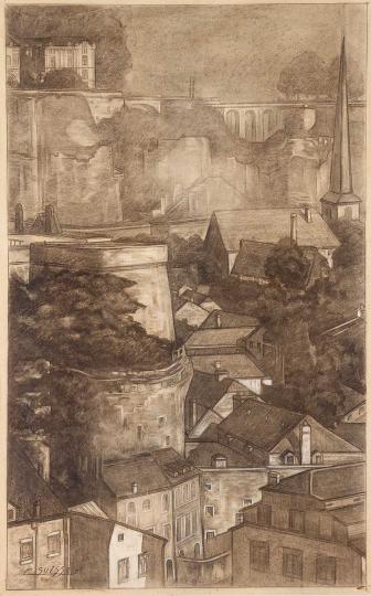 Gaston SUISSE (1896-1988) - Les remparts. Luxembourg, 1935.