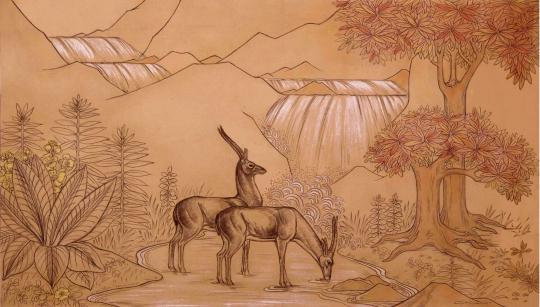 Gaston SUISSE (1896-1988) - Antilopes devant une cascade