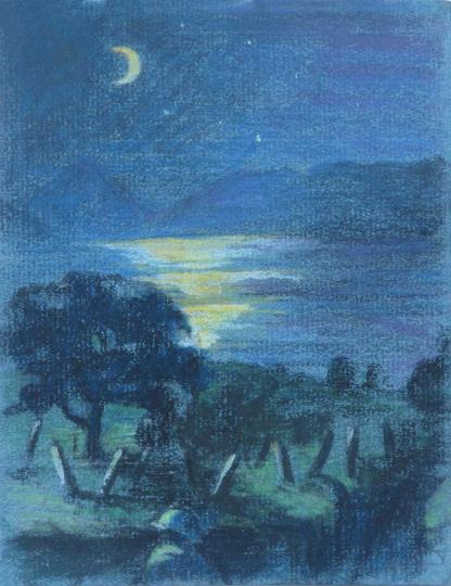 Gaston SUISSE (1896-1988) - Clair de lune sur le lac de Presba.1918.