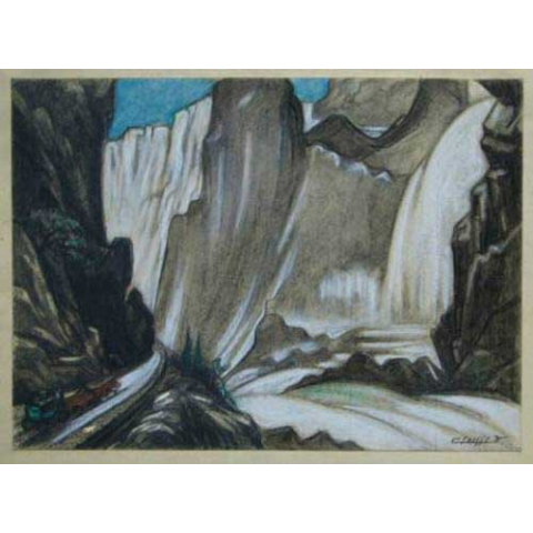 Diligence dans un paysage de montagne