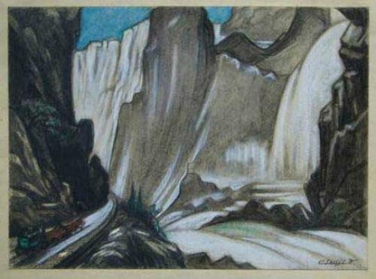Gaston SUISSE (1896-1988) - Diligence dans un paysage de montagne