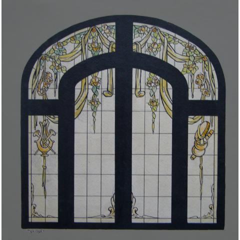 Carton de vitrail exécuté pour Jacques Grüber.