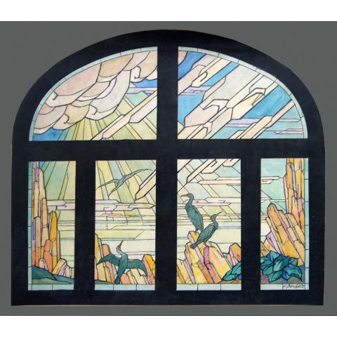 Projet de vitrail. Cormorans. 1928.