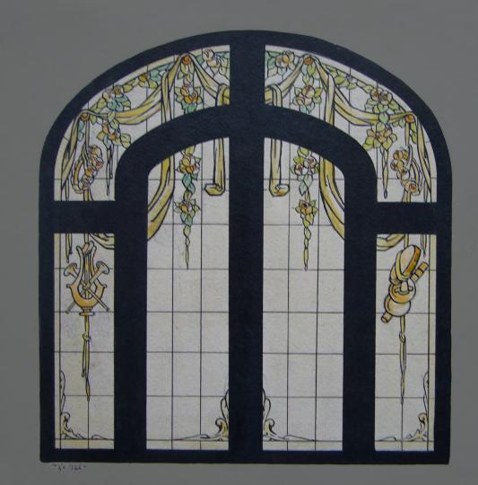 Gaston SUISSE (1896-1988) - Carton de vitrail exécuté pour Jacques Grüber.