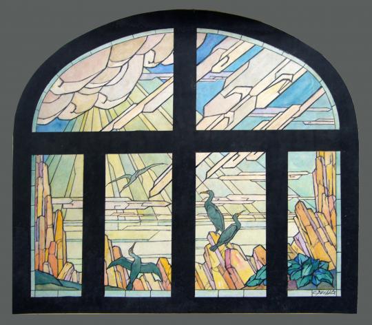 Gaston SUISSE (1896-1988) - Projet de vitrail. Cormorans. 1928.